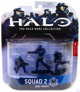 Halo Wars McFarlane Toys Heroic Collection Series 1 Mini Figure 3-Pack Squad 2 UNSC Troops {Blue} [1 Spartan Soldier & 2 Marine Infantry]