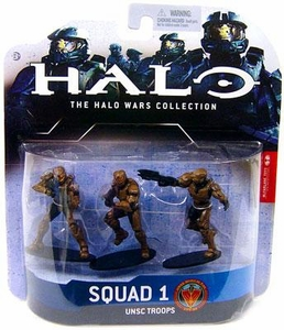 Halo Wars McFarlane Toys Heroic Collection Series 1 Mini Figure 3-Pack Squad 1 UNSC Troops [3 Random Color Spartan Soldiers] DAMAGED PACKAGE!