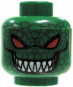 LEGO LOOSE Head Green with Red Eyes, Grin with Pointy Teeth & Reptile Scales