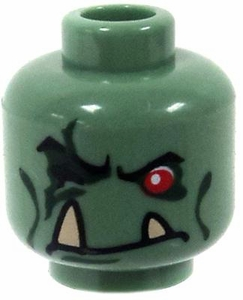 LEGO LOOSE Head Sand Green Troll with One Red Eye & Fangs