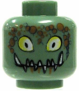LEGO LOOSE Head Sand Green with Yellow Eyes, Brown Scales & Jagged Fangs