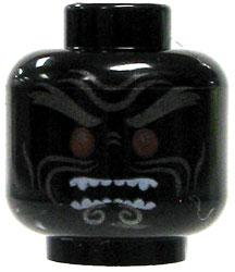 LEGO LOOSE HEAD Black Head with Bared Teeth and Red Eyes
