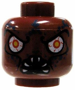 LEGO LOOSE Head Dark Red Male with Leech's Mouth & Glaring Red Eyes