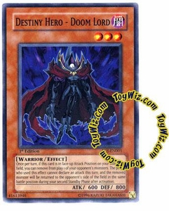 YuGiOh GX Enemy of Justice Single Card Common EOJ-EN001 Destiny Hero - Doom Lord
