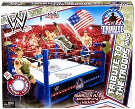 Mattel WWE Wrestling Fan Central Exclusive Tribute To The Troops Ring [American Flag, Military Vest & Helmet!]