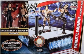 Mattel WWE Wrestling PPV Headquarters Exclusive Wrestlemania Superstar Ring [Undertaker & Triple H Action Figures!]