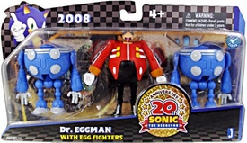 Sonic 20th Anniversary Action Figure 3-Pack 2008 Dr. Eggman & 2x Blue Egg Fighters