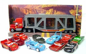 Disney / Pixar CARS Movie 1:55 Die Cast Set of 10 Random LOOSE Cars with Mack Transporter