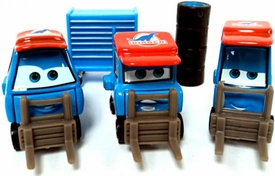 Set of 3 Team Dinoco Crew Pittys with Tires & Tool Case LOOSE Disney / Pixar CARS Movie 1:55 Die Cast Car