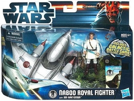 Star Wars 2012 Clone Wars Vehicle & Action Figure Naboo Royal Fighter with Obi-Wan Kenobi BLOWOUT SALE!