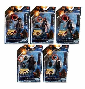 Pirates of the Caribbean On Stranger Tides 4 Inch Series 1 Set of 5 Action Figures [Angelica, Jack Sparrow, Blackbeard, Barbossa & Gibbs]