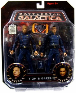 Battlestar Galactica Action Figure 2-Pack Tigh & Gaeta Damaged Package, Mint Contents!