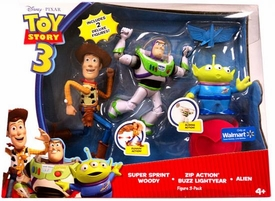 Disney / Pixar Toy Story 3 Exclusive 6 Inch Action Figure 3-Pack Super Sprint Woody, Zip Action Buzz Lightyear & Alien