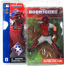McFarlane Toys MLB Sports Picks Series 1 Action Figure Ivan Rodriguez (Texas Rangers) Gray Jersey