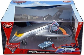 Disney / Pixar CARS 2 Movie Exclusive Playset Siddeley Spy Jet Shoot Out Damaged Package, Mint Contents!