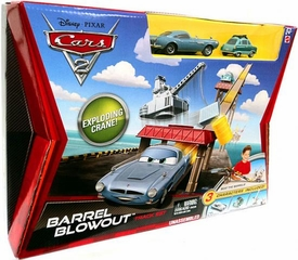 Disney / Pixar CARS 2 Movie Track Set Barrel Blowout with Finn McMissile & Professor Z!