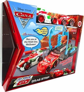 Disney / Pixar CARS 2 Movie Exclusive Shake 'N Go Playset Drag Strip [Includes Shake 'N Go Bernoulli & McQueen]