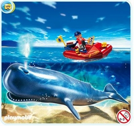 Playmobil Zoo Set #4489 Researcher on Boat and Whale