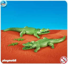 Playmobil Zoo Set #7894 2 Large Alligators with 2 Small Alligators