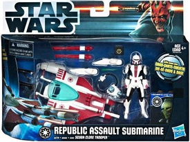 Star Wars 2012 Clone Wars Vehicle & Action Figure Republic Assault Submarine with Scuba Trooper