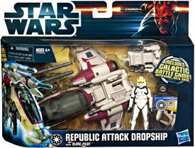 Star Wars 2012 Clone Wars Vehicle & Action Figure Republic Attack Dropship with Pilot