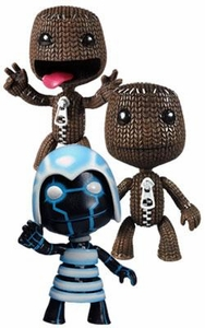 Mezco Toyz Set of 3 Little Big Planet 4 Inch Series 1 Action Figures [2x Sackboy & Neon]