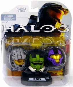 Halo 2009 Mcfarlane Toys Helmet 3-Pack [Wave 1] Mark VI, EOD & CQB COLLECTOR'S CHOICE!
