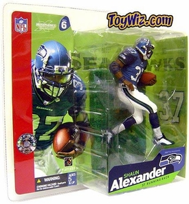 McFarlane Toys NFL Sports Picks Series 6 Action Figure Shaun Alexander (Seattle Seahawks) Blue Jersey & White Pants