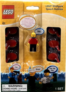 LEGO Minifigure with Speech Bubbles [Red Shirt]