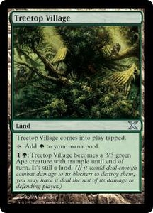 Magic the Gathering Tenth Edition Single Card Uncommon #361 Treetop Village Foil! Very Slightly Played
