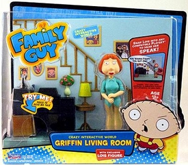 Playmates Family Guy Series 1 Voice Activated Playset Living Room With Lois Griffin Action Figure