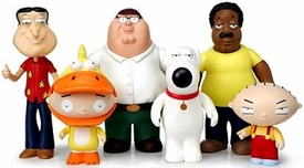Playmates Family Guy Series 1 Set of 6 Voice Activated Action Figures [Peter Griffin, Cleveland Brown, Brian, Stewie, Quagmire & Halloween Stewie]
