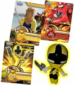 Power Rangers SUPER Samurai 1 Inch PVC Mini Figure & Trading Card Yellow Ranger