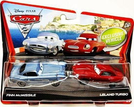 Disney / Pixar CARS 2 Movie 1:55 Die Cast Car 2-Pack Finn McMissile & Leland Turbo