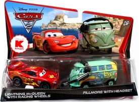 Disney / Pixar CARS 2 Movie Exclusive 1:55 Die Cast Car 2-Pack Lightning McQueen with Racing Wheels & Fillmore with Headset