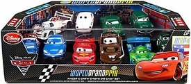 Disney / Pixar CARS 2 Movie Exclusive 1:48 Die Cast Car 10 Piece Set #1 World Grand Prix Racer & Crew Chiefs [McQueen, Mater, Todoroki, Matsuo, Gearsley, Littleton, Veloso, Besouro, CaRoule & Motoreau]