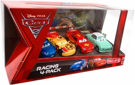 Disney / Pixar CARS 2 Movie Exclusive Die Cast Car Racing 4-Pack Lightning McQueen, Raoul Caroule, Miguel Camino & Denise Beam