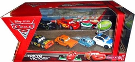 Disney / Pixar CARS 2 Movie Exclusive 1:55 Die Cast Car 7-Pack Tokyo Victory [Darrell Cartrip, Francesco Bernoulli, Lightning McQueen, Lewis Hamilton, Professor Z, Grem & Frank Clutchenson]