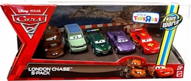 Disney / Pixar CARS 2 Movie Exclusive 1:55 Die Cast Car 5-Pack London Chase [You the Bomb Mater, Miles Axlerod, Nigel Gearsley, Holley Shiftwell & Lightning McQueen]