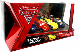 Disney / Pixar CARS 2 Movie Exclusive Die Cast Car Racing 4-Pack Ronnie Del Cooper, Lightning McQueen, Jeff Gorvette & Max Schnell