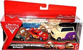 Disney / Pixar CARS 2 Movie Die Cast Car Character Stars 3-Pack Kingpin Nobunaga, Race Team Mater & Lightning McQueen with Racing Wheels