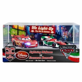 Disney / Pixar CARS 2 Movie Exclusive 1:48 Light Up Die Cast Car 2-Pack Lightning McQueen vs Francesco Bernoulli
