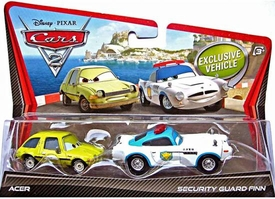 Disney / Pixar CARS 2 Movie 1:55 Die Cast Car 2-Pack Acer & Security Guard Finn