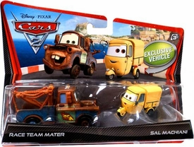 Disney / Pixar CARS 2 Movie 1:55 Die Cast Car 2-Pack Race Team Mater & Sal Machiani