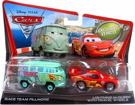 Disney / Pixar CARS 2 Movie 1:55 Die Cast Car 2-Pack Race Team Fillmore & Lightning McQueen with Travel Wheels