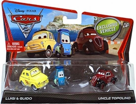 Disney / Pixar CARS 2 Movie 1:55 Die Cast Car 3-Pack Luigi, Guido & Uncle Topolino