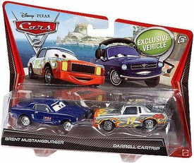 Disney / Pixar CARS 2 Movie 1:55 Die Cast Car 2-Pack Brent Mustangburger & Darrel Cartrip