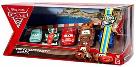 Disney / Pixar CARS 2 Movie Exclusive Die Cast Car 5-Pack Tokyo Race Party [A Trunkov, Francesco Bernoulli, Lightning McQueen, Wasabi Mater & Rod Torque Redline]