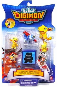 Digimon Data Squad Bandai Mini PVC Figure Set 1 [Agumon, Dot-Agumon, Gaogamon, Kokatorimon & Mystery Character]
