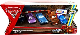 Disney / Pixar CARS 2 Movie Exclusive Die Cast Car 5-Pack Paris Scene Espionage [Race Team Mater, Finn McMissile, Tomber, Holley Shiftwell & Raoul Caroule]
